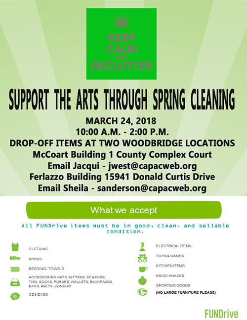 """Support the Arts through Spring Cleaning - March 24, 2018"""